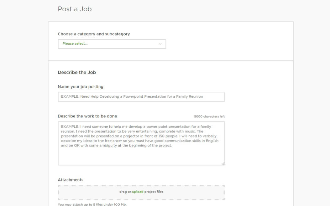 Job description Freelancer Upwork