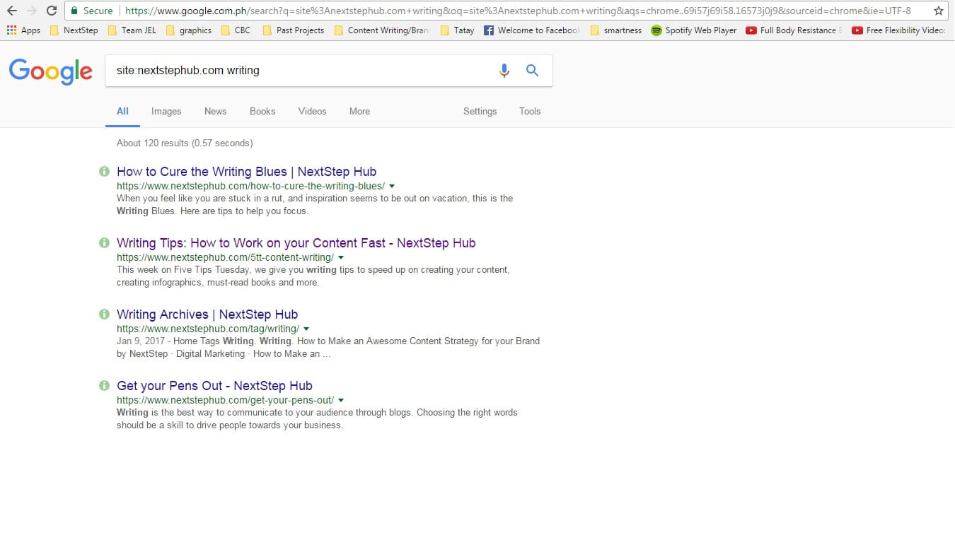 writing hacks google site search