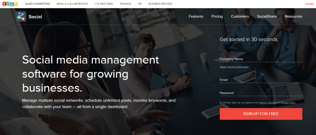 social media management software Zoho